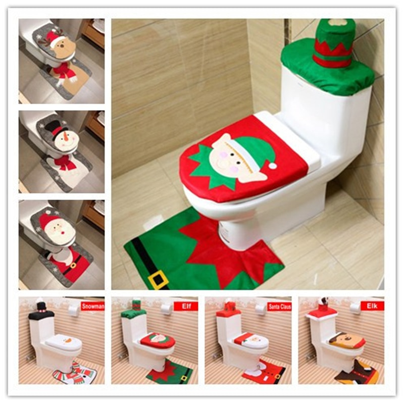Hot New Single-piece Santa Clause Pattern Toilet Seat Cover Home Christmas Overcoat Toilet Case Bathroom Decorative Products