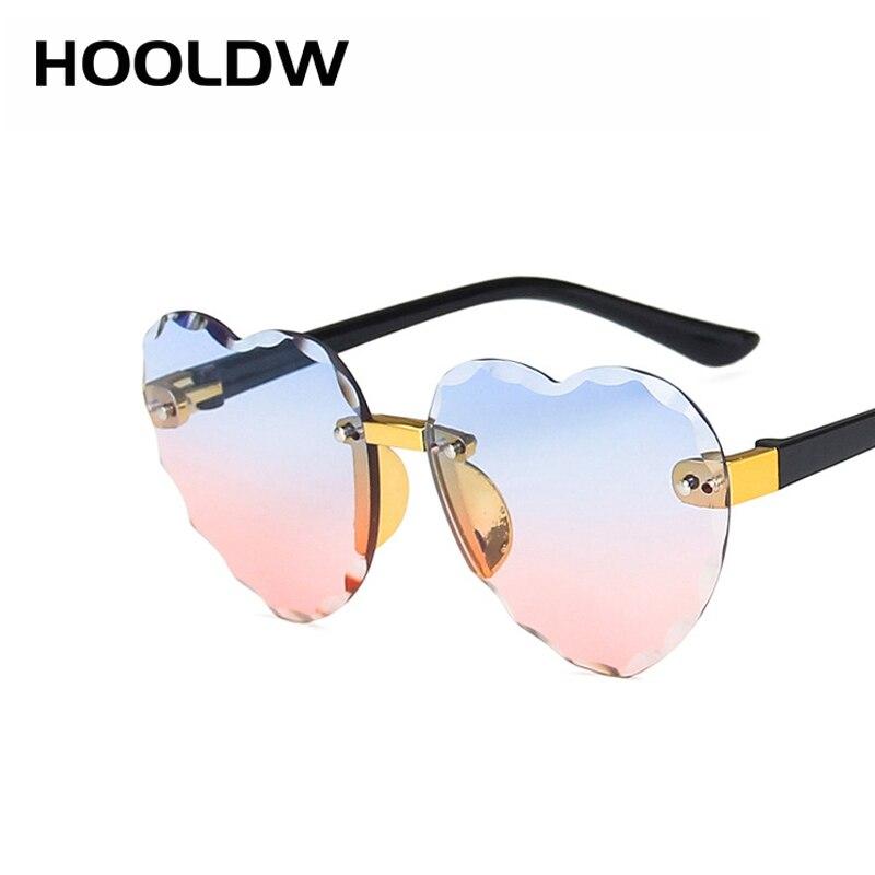 HOOLDW New Heart Rimless Kids Sunglasses Fashion Heart Shape Children Sun Glasses Girls Outdoors Tra