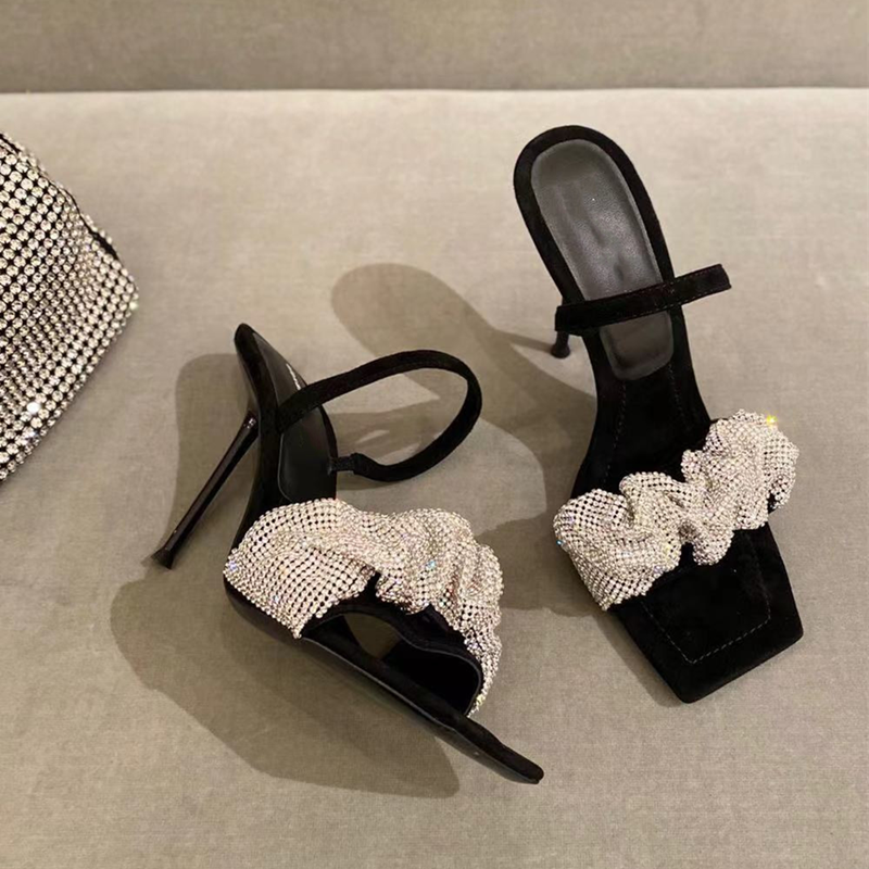 2021 European and American new ladies high heel sandals with diamond decoration