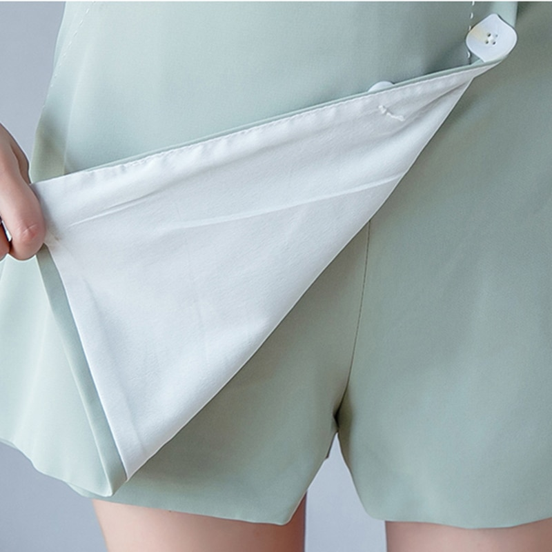 Fashion Summer Style Women White Shorts Skirts Casual Female High Waist Irregular Shorts Streetwear Single Breasted Mini Skirts  - buy with discount
