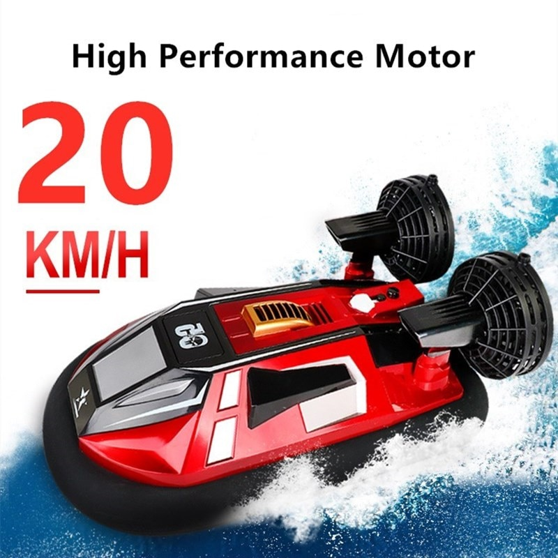 Electic Toys High Speed Boat 2.4G RC Amphibious Hovercraft Waterproof Red Drift Reverse Navigation Anti-Collision Fuselage Ship enlarge