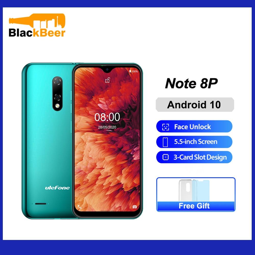 Ulefone Note 8P 5,5 дюймов мобильный телефон Android 10 четырехъядерный смартфон 2 Гб ОЗУ 16 Гб ПЗУ 4G мобильный телефон 2700 мАч разблокировка лица
