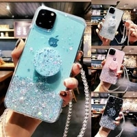 bling glitter case for iphone 11 pro max 11 pro 11 xs xr x xs max 8 7 6s 6 plus slim case cover with holder stand case