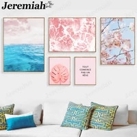 modern floral canvas poster pink cherry blossom blue ocean painting wall art nordic living room decoration accessories