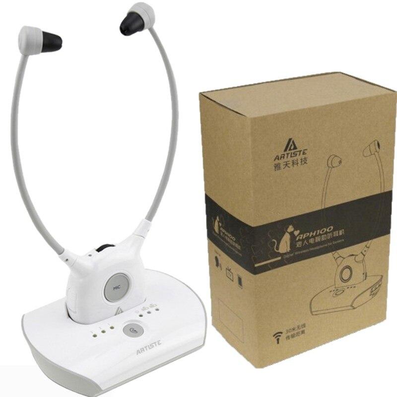 Auricular inalámbrico APH100 para TV, sistema de auriculares de asistencia auditiva de 2,4 GHz para personas mayores, amplificador de voz