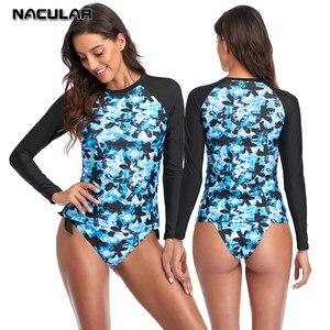 Nacular Women Swimwear Long Sleeve Top Rash Guard Surfing Printed Swimsuit Beach Wear Two Pieces