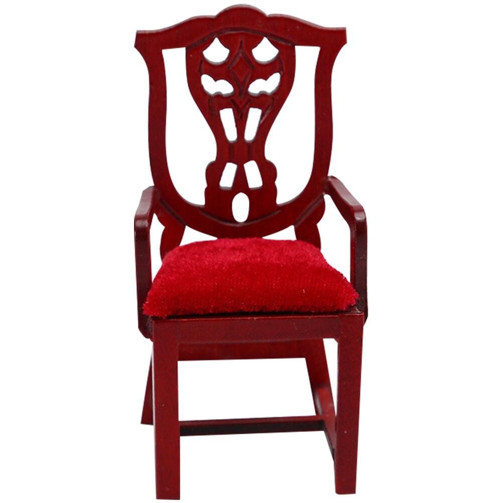 1pc DIY Model Chair Mini Wood Armchair Mini House Chair Decoration