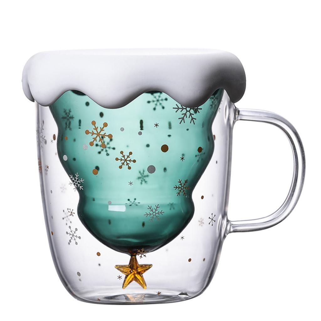 Copa de estrella de árbol de Navidad de doble acristalamiento con mango de aislamiento copa de vidrio de doble capa creativo regalo bebida taza de leche