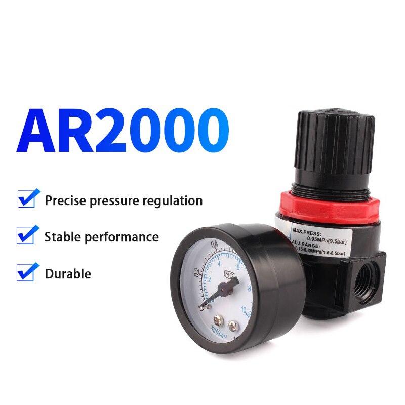 Zkcm ar2000 pc 4 6 8 10 12 miniatura regulador de pressão do ar válvula redutora pressão com medidor pressão para compressor