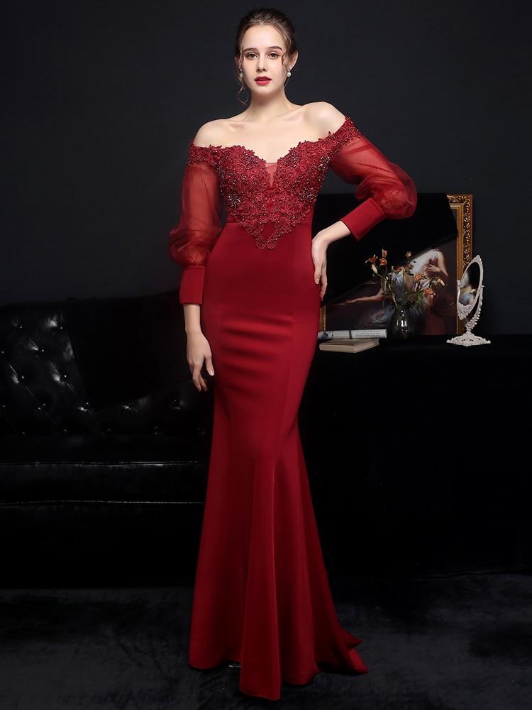 YIDINGZS نساء انظر من خلال تول فستان سواريه بأكمام طويلة أنيق ساتان زينة مطرز بالخرز فستان سهرة