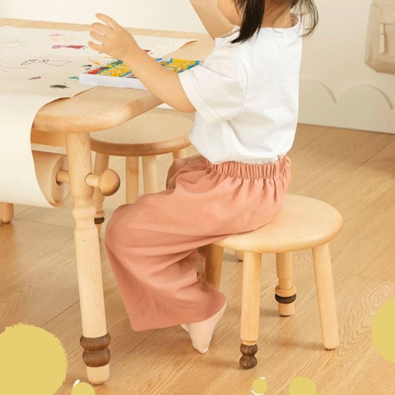 Стулья гостиная маленькая круглая в скандинавском стиле, детская мебель из цельной древесины, стул из твердого клена с открытой спиной, сме...
