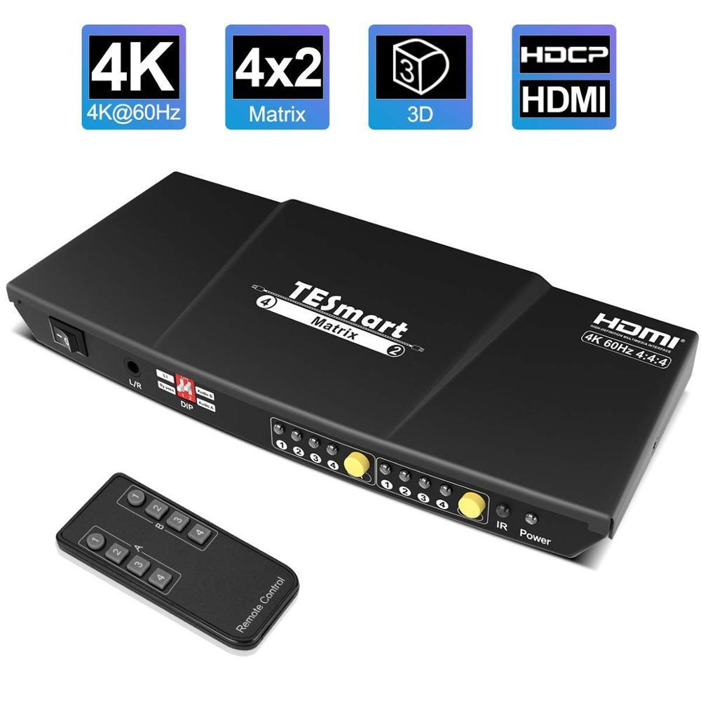 HDMI Matrix 4x2 HDMI Switcher Splitter 4 Ports Input and 2 Ports Output Matrix 4 ports Dual Monitor Up to 4Kx2K@60Hz HDCP2.2