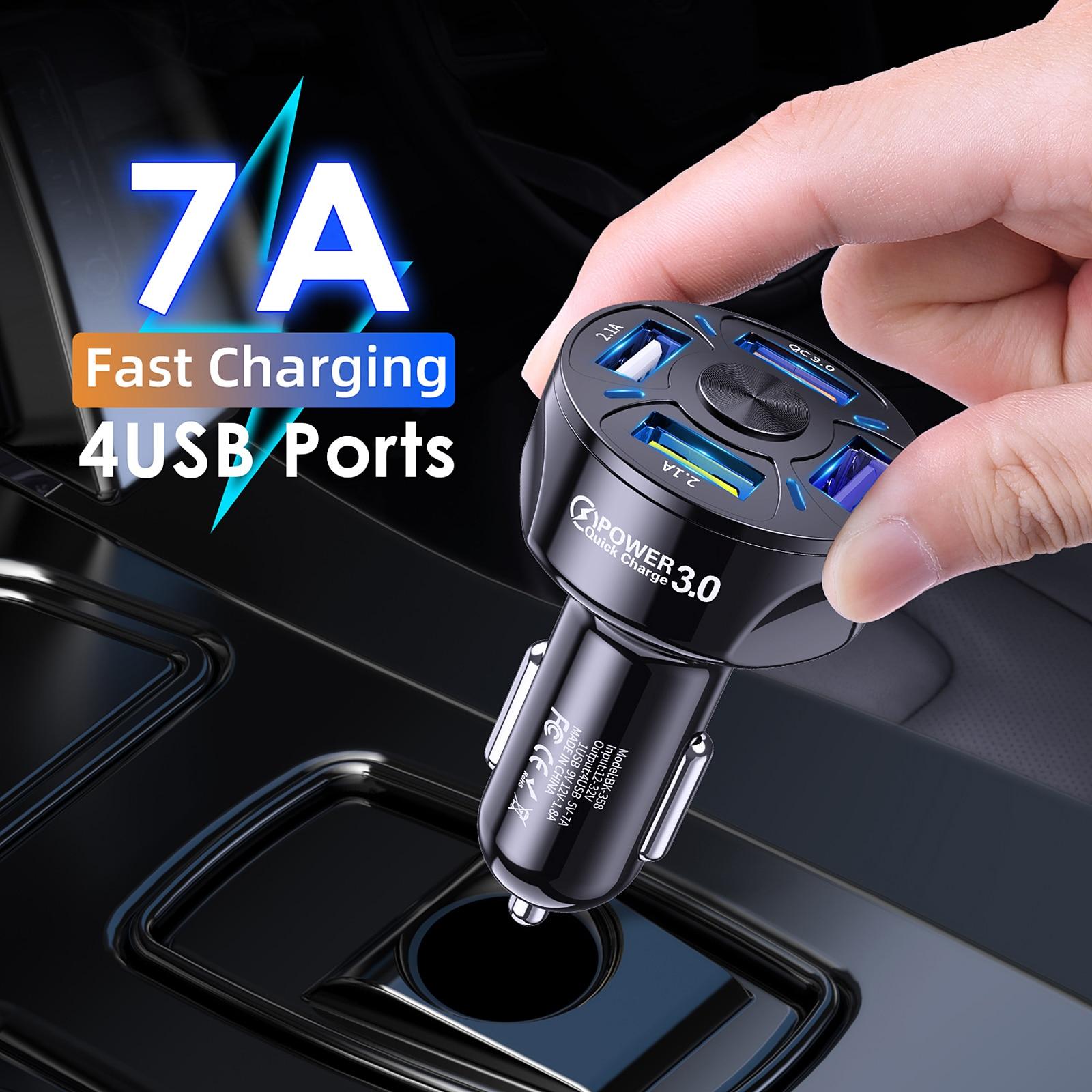 Автомобильное зарядное USB-устройство для сигарет, 48 Вт, 7 А, 4 порта, USB 3,0, быстрая зарядка 2,1 А, универсальная Быстрая зарядка для iphone, Samsung, Huawei