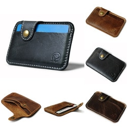 Carteira masculina compacta de couro, porta-cartão fino portátil com bolso bolsa de mão