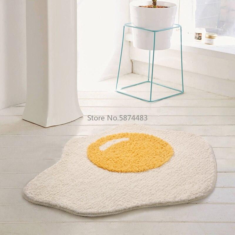 سجادة حمام على شكل بيضة ، سجادة مدخل مضحكة ، سجادة أرضية للمطبخ ، ممسحة ترحيب إسكندنافية أنيقة ، ديكور غرفة ، 70 × 58 سم
