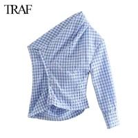 traf womens clothes za 2021 summer new womens fashion all match plaid shirt design sense niche hong kong style retro top