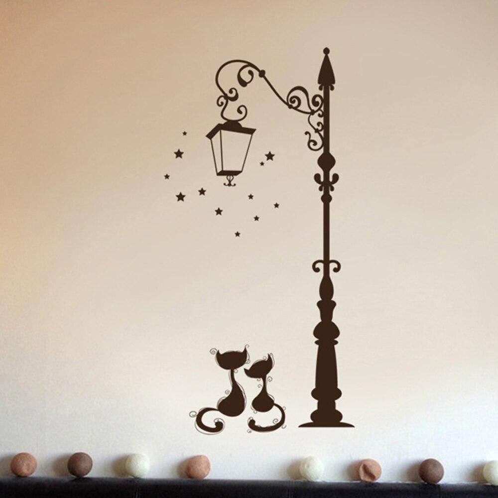 Decoración Para el hogar, lámpara para debajo De la calle De gatos, pegatina De pared DIY, papel tapiz, decoración artística, Mural para habitación, Adhesivo De pared, pegatinas