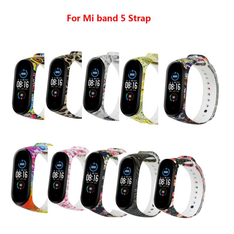 Brand New Printing Silicone Wrist Strap For Xiaomi Mi Band5 Adjustable Softness Fitness Replacement
