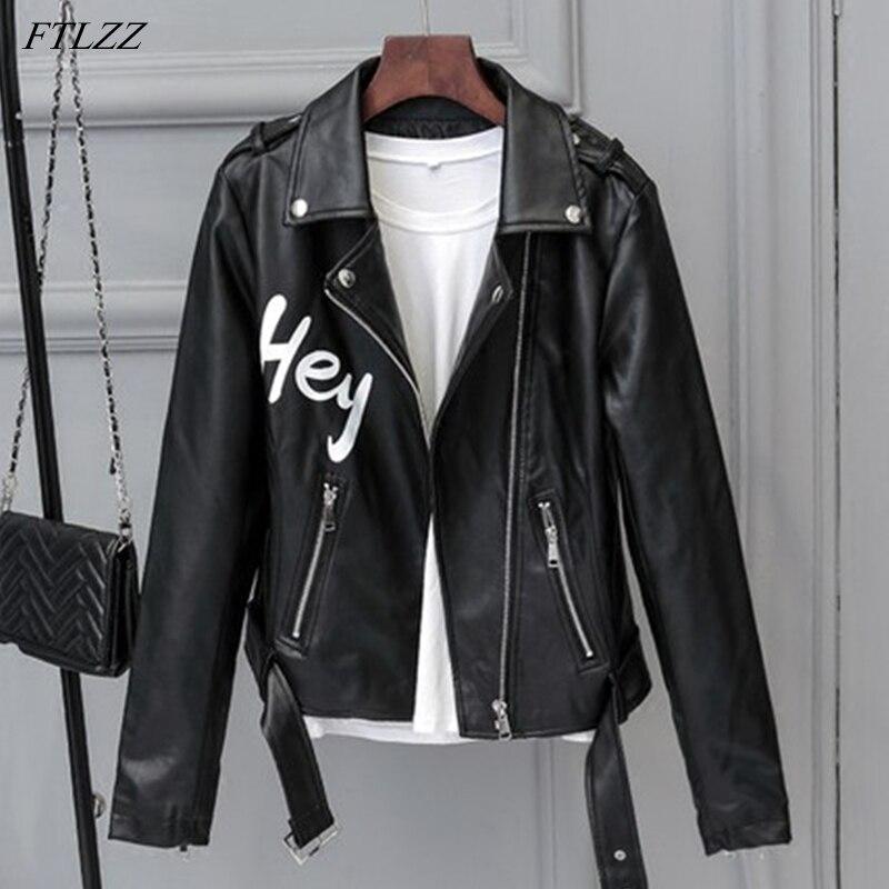 FTLZZ جديد الخريف المرأة الشارع الشهير إلكتروني سليم بولي Leather سترة جلدية موتو السائق أنثى جلد صناعي أسود معطف يندبروف أبلى