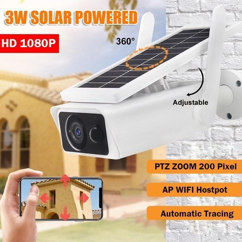 Cámara de seguridad Solar para exteriores, videocámara inalámbrica con WiFi, 1080P, 4X,...