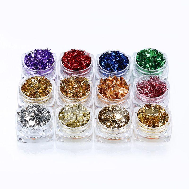 12 cores ouro folha de prata papel lantejoulas resina molde recheios resina jóias fazendo q0ke