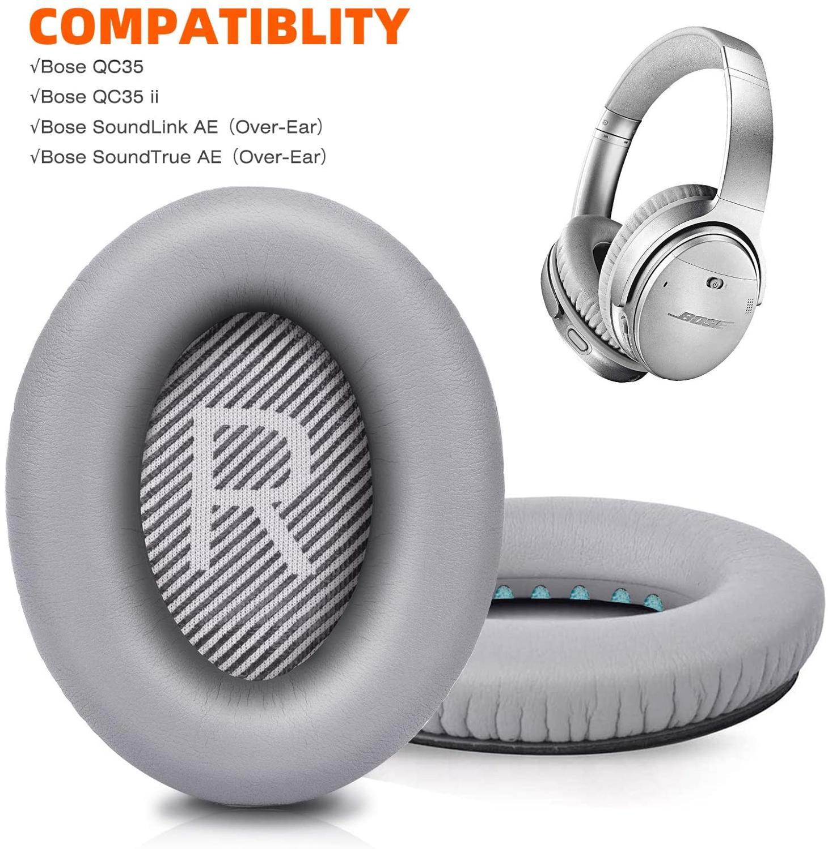 Almofadas de Substituição para Bose Soundtrue ao Redor-estilo de Orelha Espuma de Memória ii ao Redor-fones de Ouvido de Orelha Também Encaixa – Qc35 Cinza se qc 35