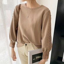 Autumn New 2021 Solid Color Korean Fashion T-Shirt Round Neck Hollow Out Embroidery Long Sleeve Casu