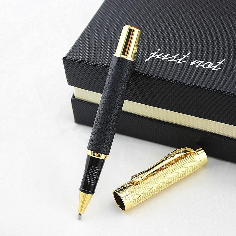 Высококачественная Роскошная шариковая ручка с золотым зажимом 0,5 мм черные чернила Заправка металлическая шариковая ручка для студентов ...