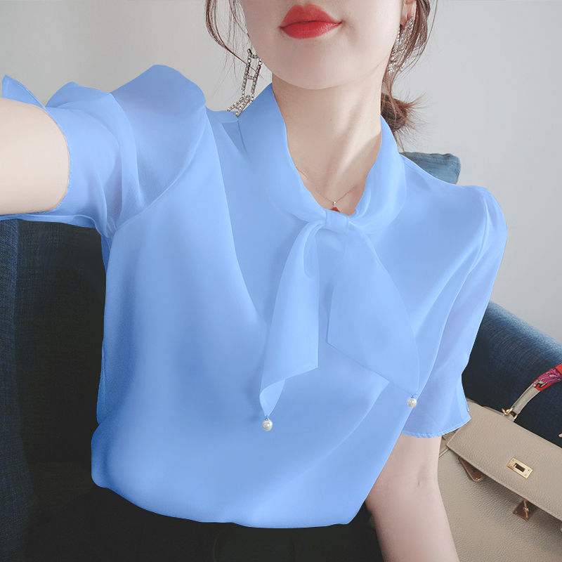 2021 summer new chiffon shirt female Korean version of loose bow short sleeve French style small