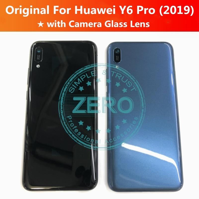 Original para Huawei Y6 Pro 2019 tapa trasera de la batería + Lente de Cristal de la cámara para Y6Pro 2019 reemplazo de la carcasa trasera partes