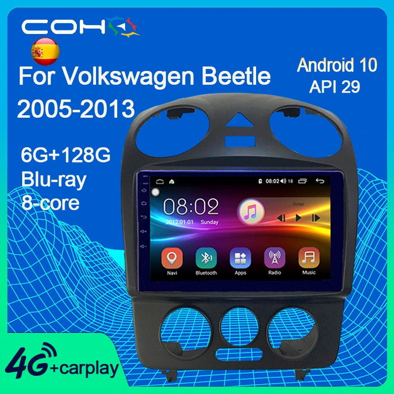 COHO لشركة فولكس فاجن فولكس فاجن بيتل 2000-2012 سيارة مشغل وسائط متعددة Autoradio أندرويد 10.0 8-Core 6 + 128G