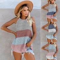 o neck tops striped streetwear women sexy women summer casual loose knitted sleeveless female tees pullover