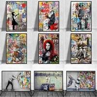 Banksy     toile dart avec Graffiti  tableau abstrait avec animaux et figurines  affiches et imprimes  tableau dart mural de rue  decor de maison  Cuadros