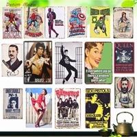 Autocollants muraux Vintage en metal  Plaque de celebrites et de personnages animes  pour cafe  Bar  cinema  Casino  Shabby Chic  decoration de maison WY5