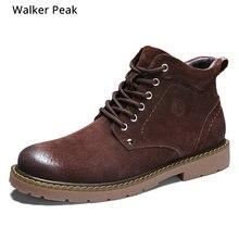 Bottines dhiver hommes en cuir véritable bottes de neige grande taille 38-50 chaussures dhiver chaudes en plein air pour hommes bottes Anti-froid Walker Peak