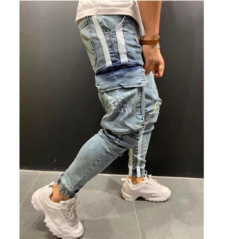 Мужские черные джинсы в полоску s, брендовые зауженные рваные брюки-карандаш в стиле сафари, Стрейчевые облегающие брюки-карго с принтом и м...