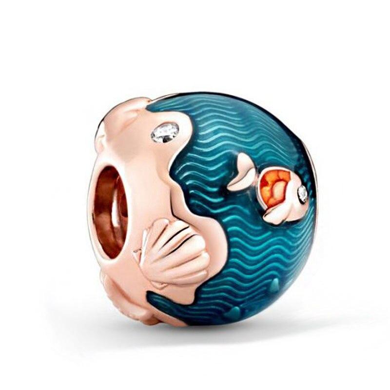 2020 verão Novo 92 5 Cintilante Oceano Ondas Peixe Charms Beads fit Original 3 milímetros Pulseiras Mulheres Jóias DIY