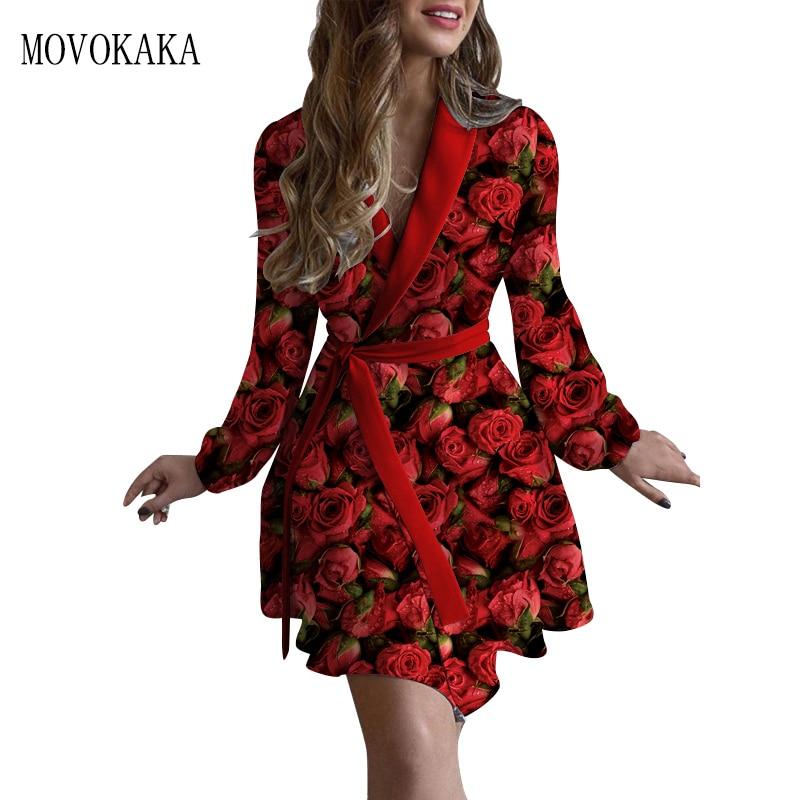 MOVOKAKA Tied Belt Rose Print Women's Dress Autumn Vintage Elegant Slim Long Sleeve dresses Woman Chic Sexy Dress Women's dress gauzy raglan sleeve crane pattern tied dress