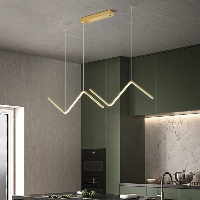 أسود & الذهب LED سقف معلقة أضواء الحديثة للمطبخ طاولة طعام غرفة المعيشة تصميم المنزل تعليق معلقة مصباح