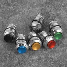 6 Stuks Metalen Knop Schakelaar 2 Pins IP67 Waterdichte Reset Zonder Licht 12 Mm 2A/250VAC Self-Reset metalen Knop Snap Enkel Contact
