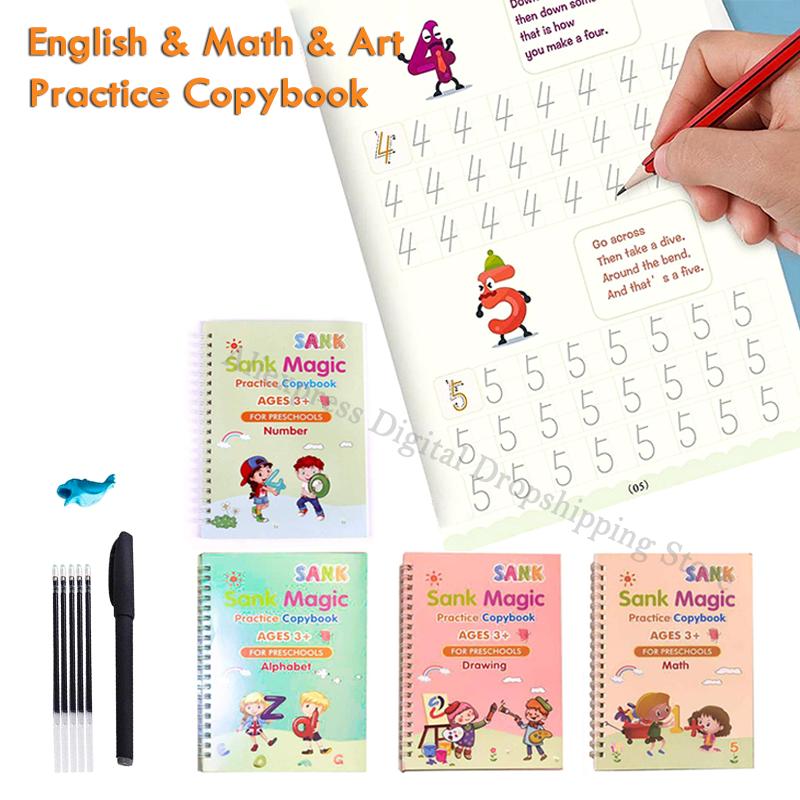 4 libri + penna per libri magici per bambini quaderni di calligrafia 3D riutilizzabili quaderno di pratica di scrittura con scritte in inglese
