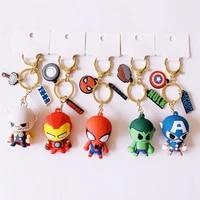 marvel avengers anime figure creative cartoon character captain america iron man car keychain bag silicone key ring pendant