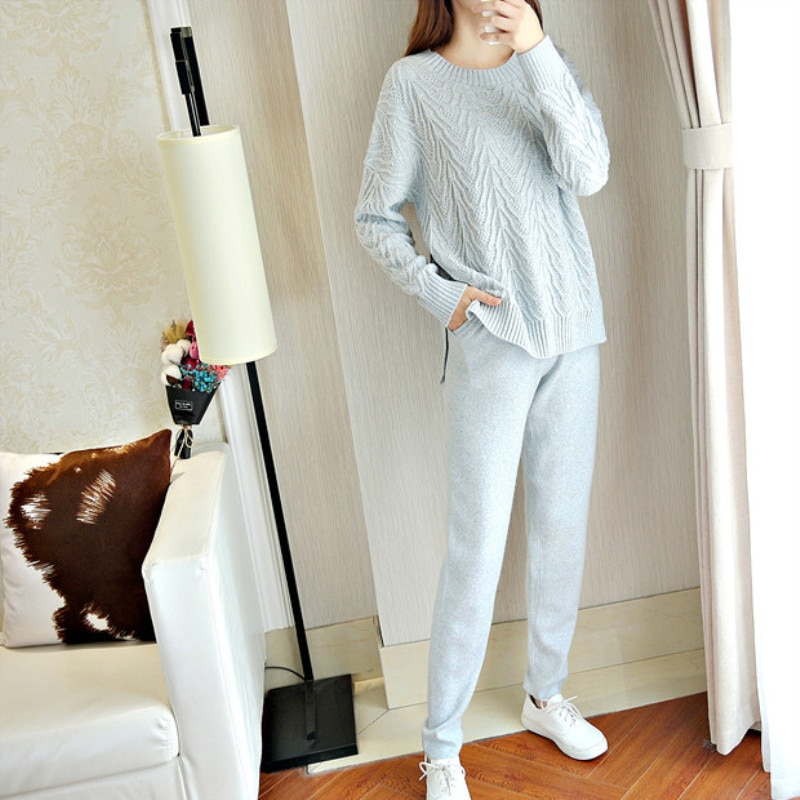 Pullover Full O-neck Bamboo Fiber Pullovers Time-limited Women 2020 Winter Hot Cashmere Sweater Set Knit And Casual Pants Of enlarge