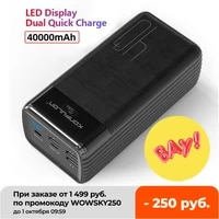 two way quick charge power bank led type c inputoutput powerbank 40000 mah15w pd external battery charger for iphone xiaomi