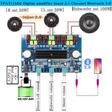 TPA3116D2 digital amplifier board Bluetooth 5.0 volume tones 2.1Channel Stereo Class D 100W*2+50W speaker Stereo Audio for AUX