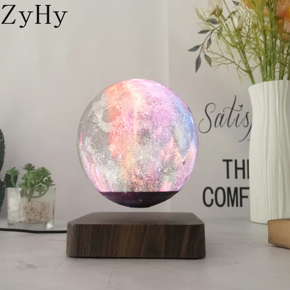 LED Creative 3D Print Magnetic Levitation Galaxy Night Light Rotating LED Floating Desk Lamp For Home Table Decoration Gift