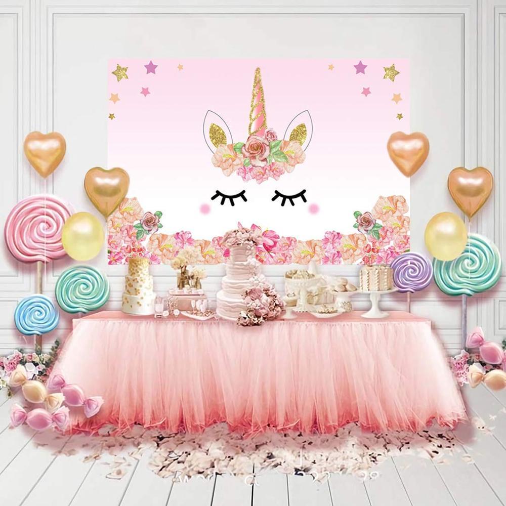 Fondos de fiesta de unicornio flores cumpleaños fiesta bebé recién nacido fotografía fondos niñas suministros de decoración para fiesta BR47