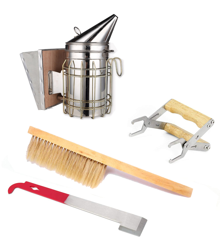 4PCS/set Hot-selling New Beekeeper Tool Suite Smoke Sprayer Beehive Lifting Spleen and Bee Brushing Scraper