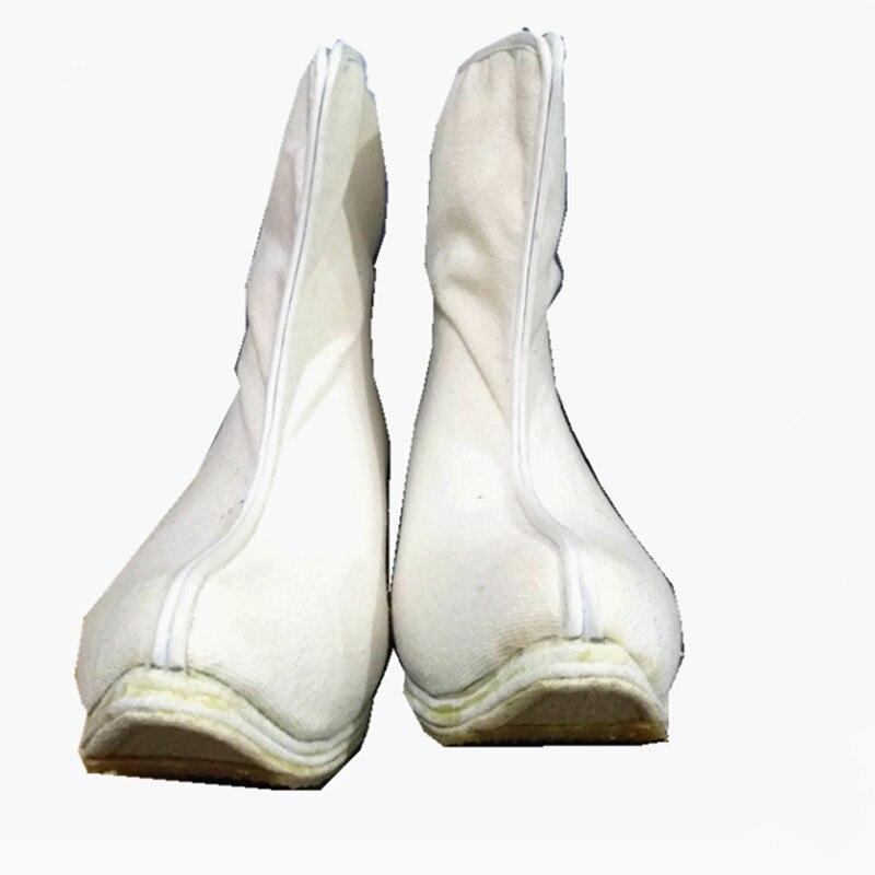 Botas blancas de cosplay de kung fu con espadachín, zapatos de Carnaval de halloween, suministros de fiesta de anime, accesorios hanfu