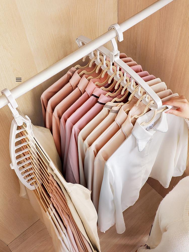 JOYBOS 6 قطعة متعددة الوظائف الملابس الرف تخزين عنبر المنزلية خزانة ترتيب رف الطفل الملابس الرف تجفيف شماعات